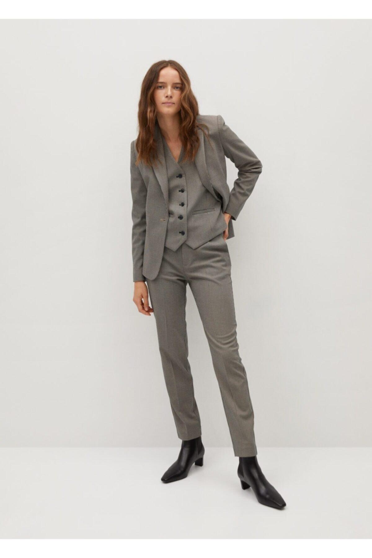 MANGO Woman Kadın Kahverengi Pantolon 2