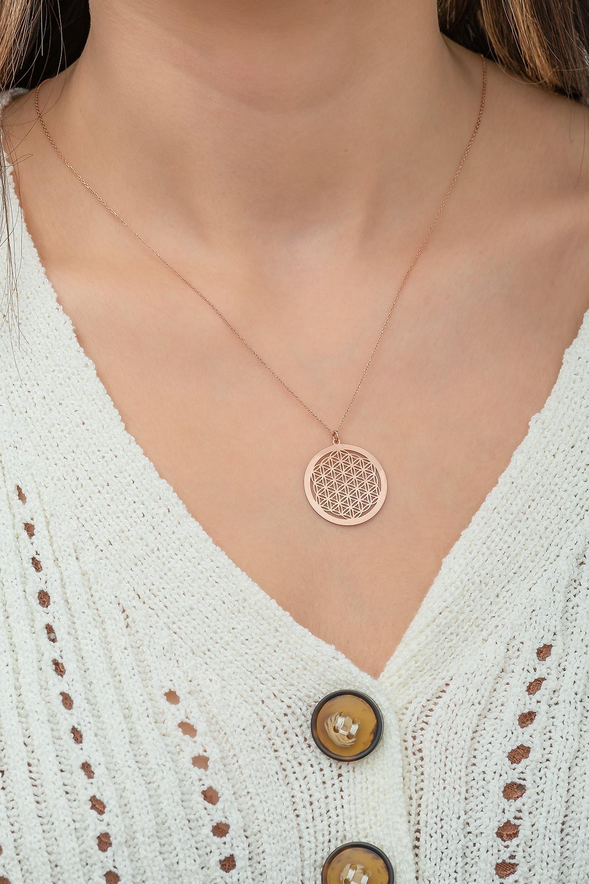 Papatya Silver Kadın Yaşam Çiçeği Rose Altın Kaplama 925 Ayar Kolye 1