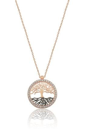 Papatya Silver Kadın Hayat Ağacı Nano Zirkon Taşlı Rose 925 Ayar Gümüş Kolye  Uvps100520