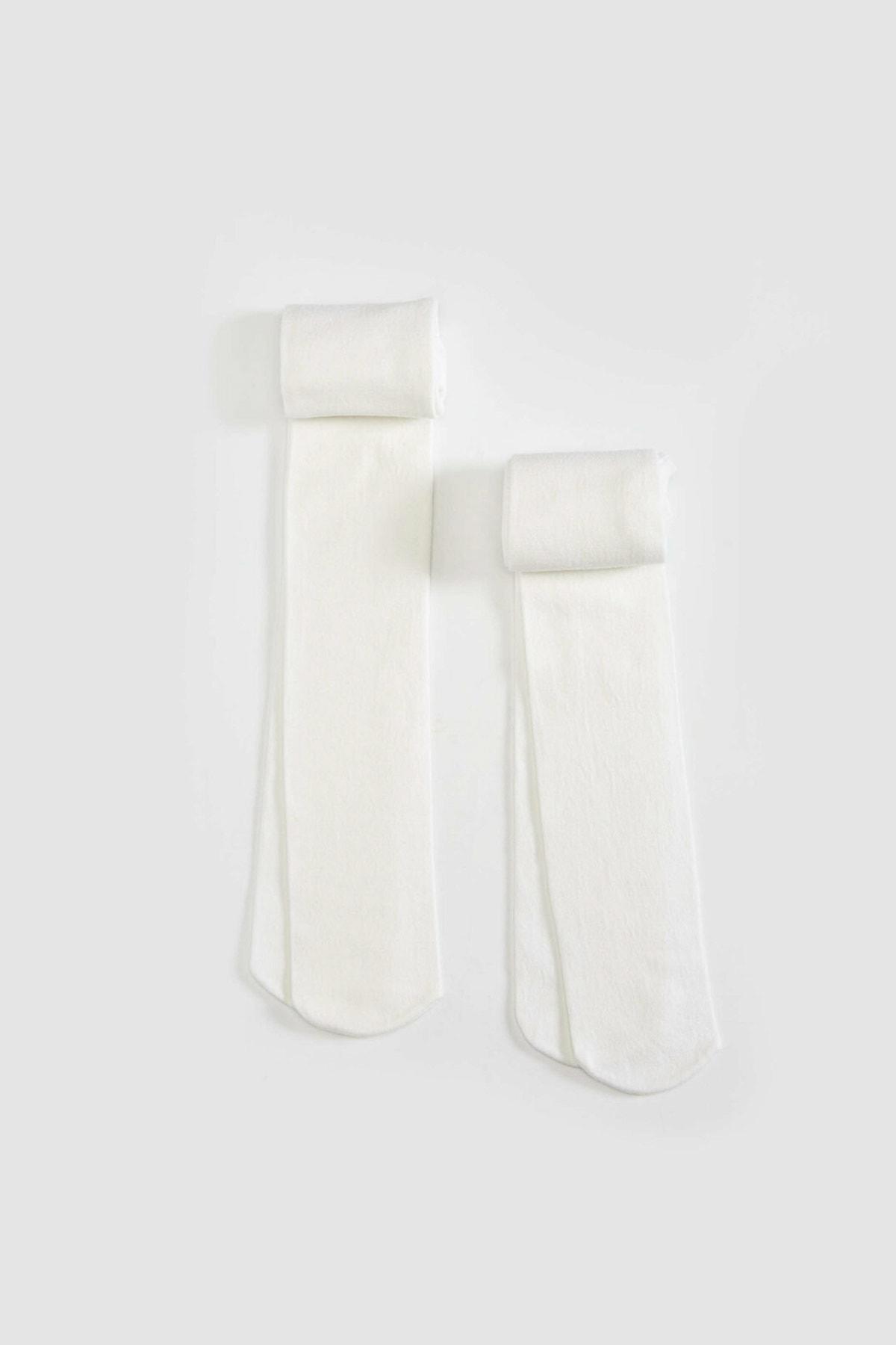 LC Waikiki Kız Çocuk Parlak Beyaz Jyx Çorap 1