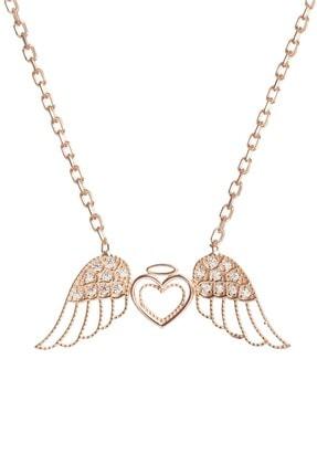 Şimal Silver 925 Ayar Gümüş Rose Kaplama Kalpli Melek Kanadı Kolye