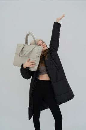 Shule Bags Kabartmalı Puf Kumaş Shopper Çanta Napoli Krem