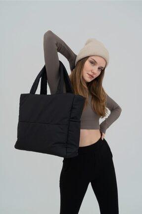 Shule Bags Kabartmalı Puf Kumaş Shopper Çanta Napoli Siyah