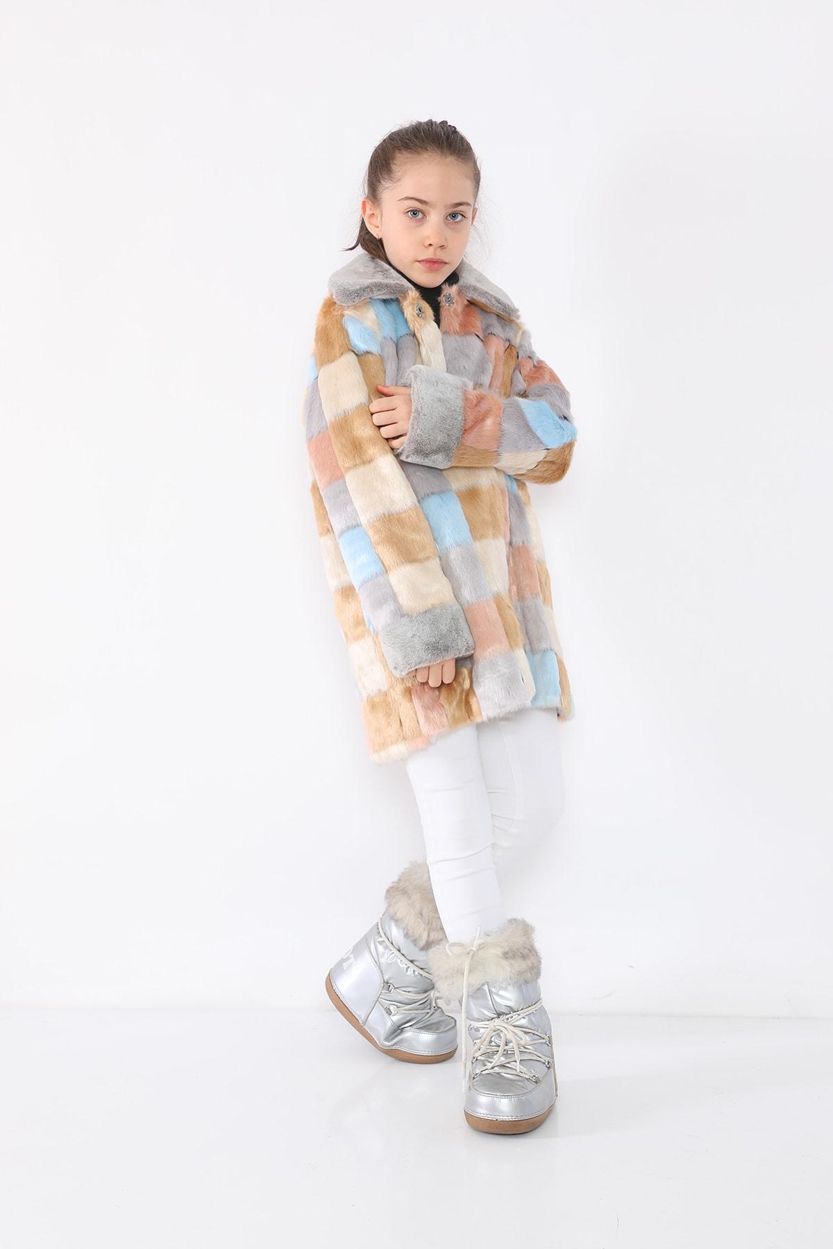 LUCKY LİFE Kız Çocuk Gri Kareli Kürklü Mont 1