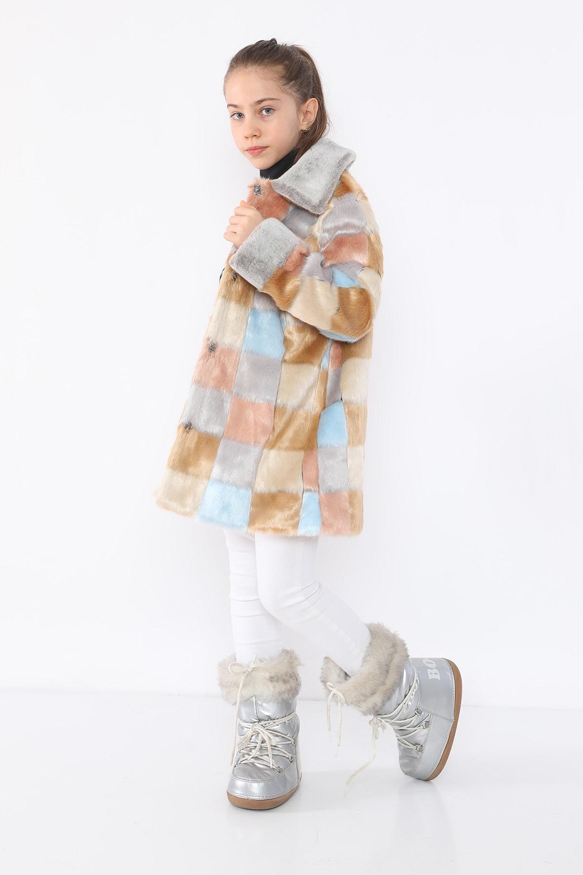 LUCKY LİFE Kız Çocuk Gri Kareli Kürklü Mont 2
