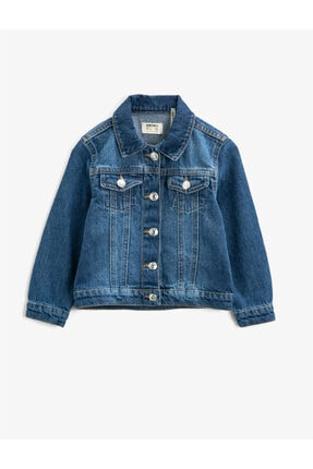 Koton Kız Çocuk Mavi Klasik Yaka Cepli Pamuklu Jean Ceket