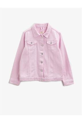Koton Kız Çocuk Pembe Klasik Yaka Cepli Pamuklu Jean Ceket