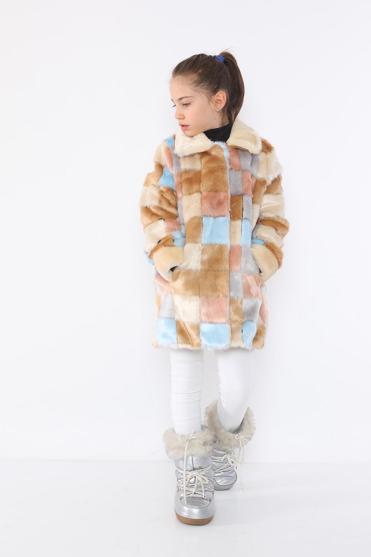 LUCKY LİFE Kız Çocuk Kareli Kürk Mont 2