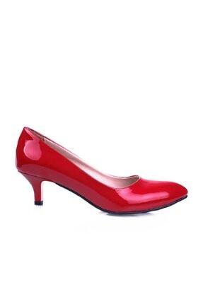 m2s Kadın Kırmızı Kısa Topuklu Rugan Ayakkabı