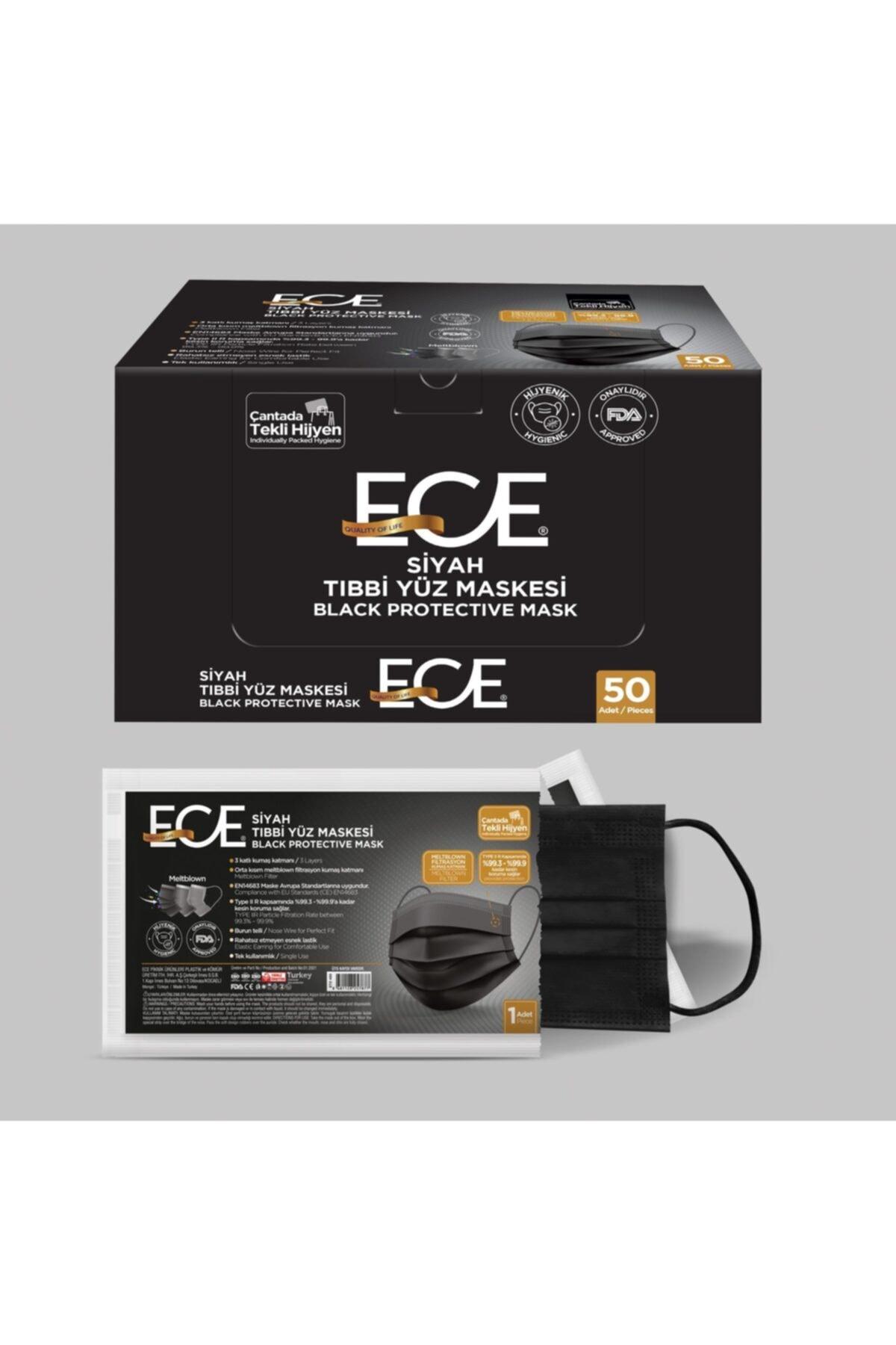 Ece Full Ultrasonik Tek Tek Paketli Meltblownlu Siyah Maske 50 Adet 1