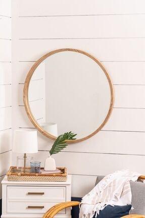 bluecape Doğal Ağaç Masif 60cm Çerçeveli Antre Hol Duvar Salon Mutfak Banyo Wc Ofis Çocuk Yatak Odası Ayna