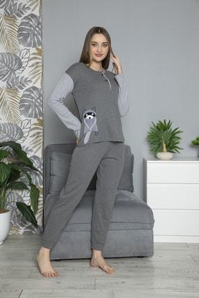FAWN Kadın Füme Uzun Kollu Nakışlı Düğmeli Kolları Çizgili Pijama Takımı