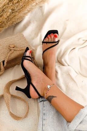 Limoya Jaden Siyah Şeffaf Bantlı Kısa Ince Topuklu Sandalet