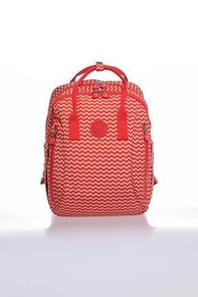 SMART BAGS Kadın Kırmızı Bej Sırt Çantası Smb1220-0134