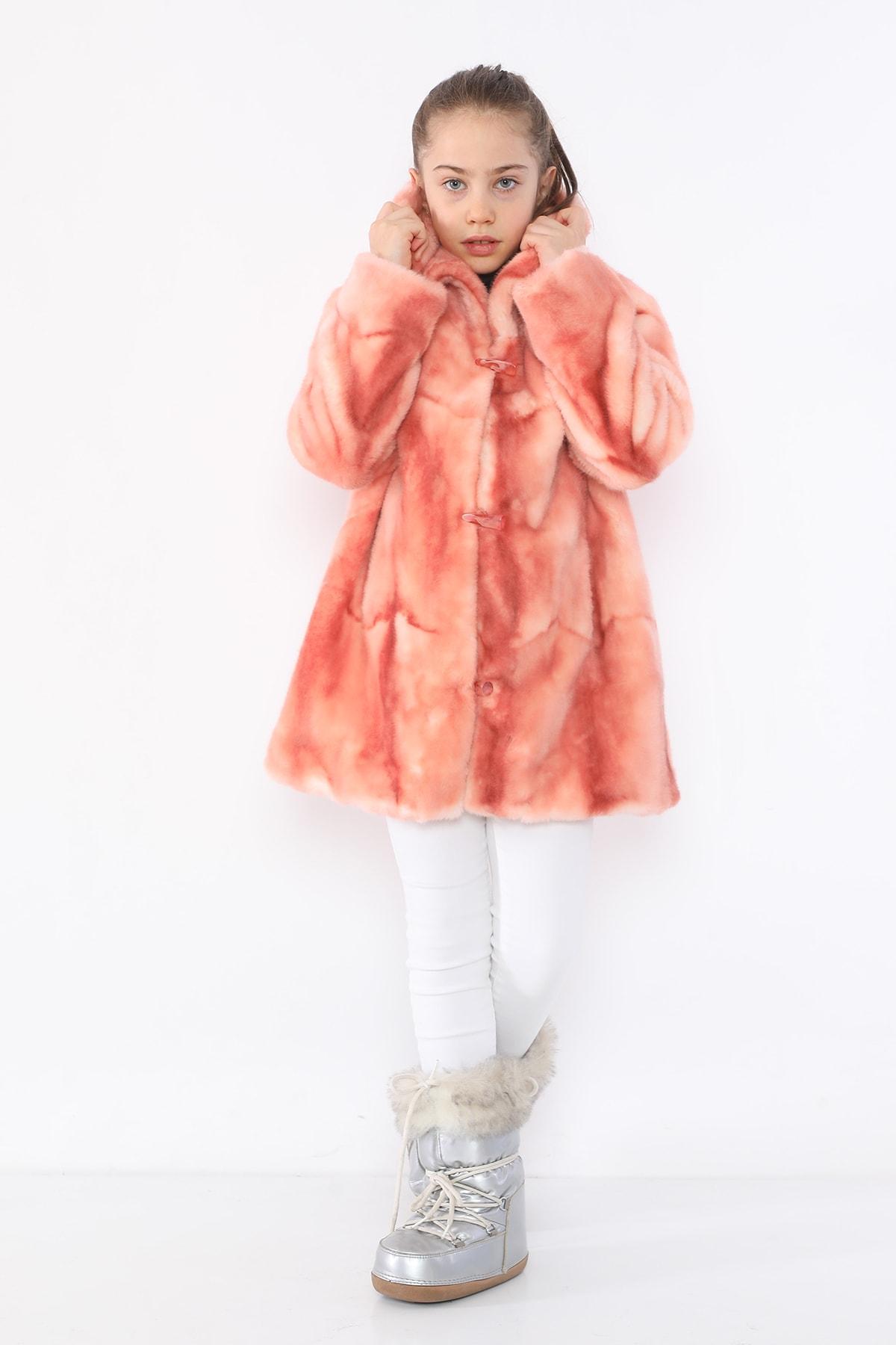 LUCKY LİFE Kız Çocuk Pembe Kürk Mont 1