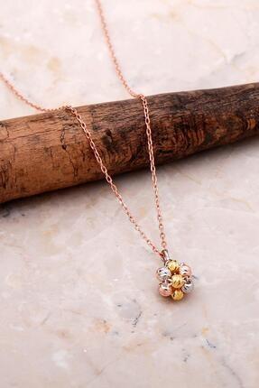 Sümer Telkari Dorissa Altın Yaldızlı Rose Gümüş Kolye 7054
