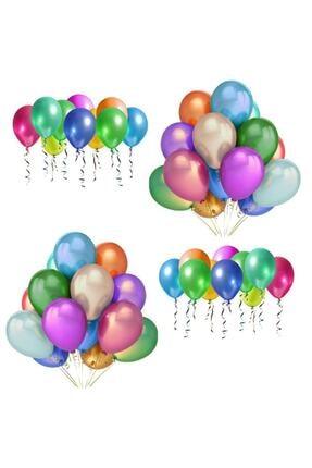 BalonEvi Metalik Balon Helyum Gazına Uyumlu Uçan Balon 1.kalite Karışık Renkli Lateks Balonlar
