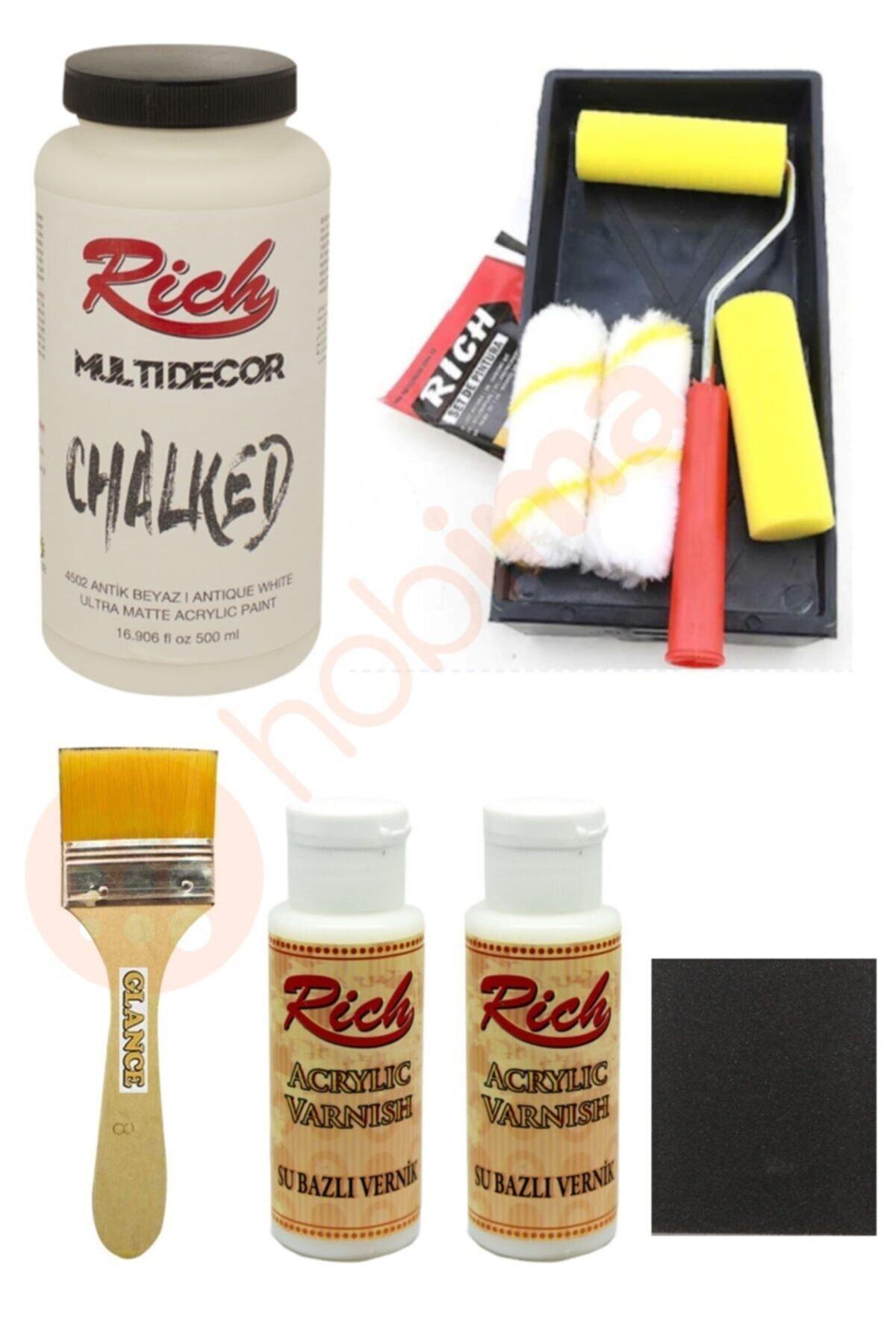 Rich Glance Dolap Boyama Antik Beyaz Tavalı Karma Rulo Set 1