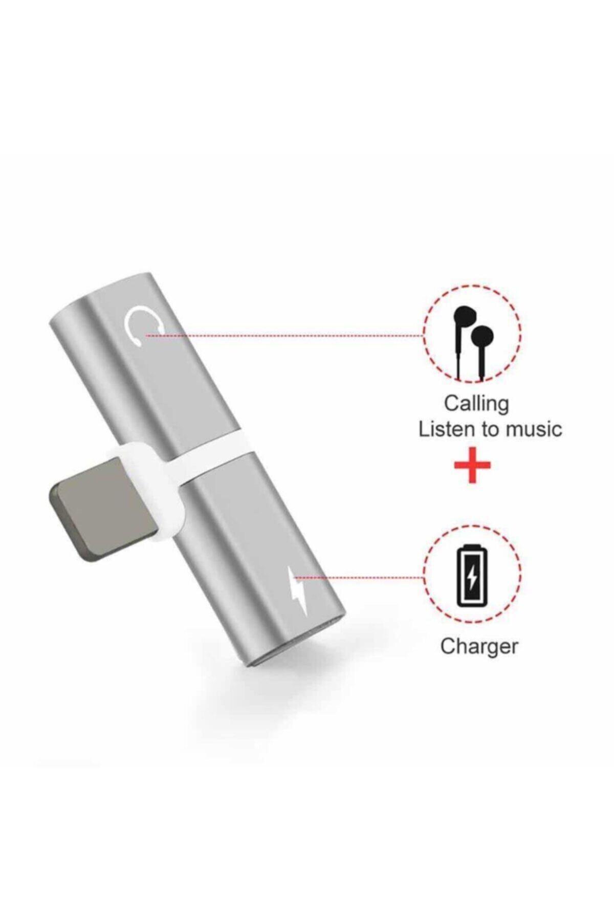 AlpCollection Iphone Uyumlu Şarj Ve Kulaklık Soketi Çoğaltıcı Adaptör Aparat Apple 7 Silver 1