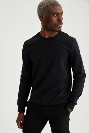 DeFacto Erkek Siyah Bisiklet Yaka Regular Fit Basic Sweatshirt