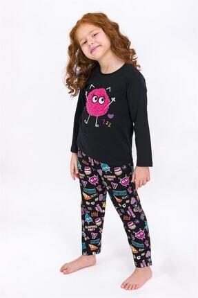 ROLY POLY Kız Çocuk Siyah Uzun Kol Pijama Takımı 1942-g