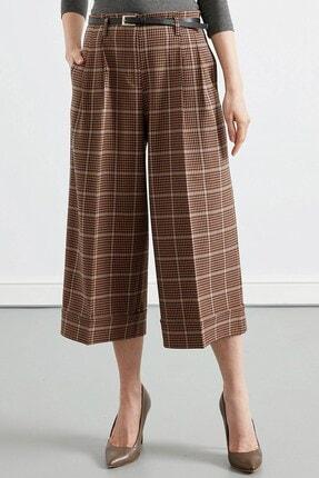 Journey Kadın Kahverengi Bel Kemer Detaylı Pileli Duble Bol Paça Pantolon