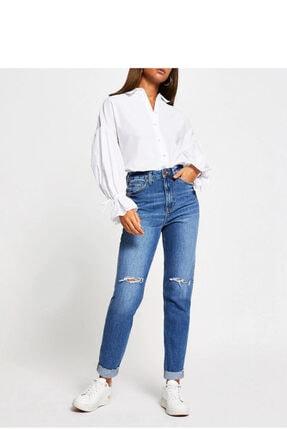 River Island Kadın Mavi Denim Yüksek Bel Skinny Jean Pantolon