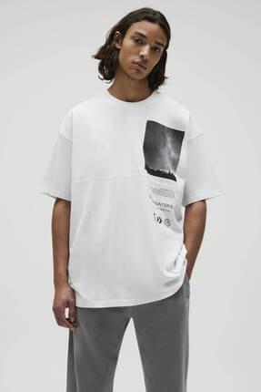 Pull & Bear Basic Beyaz Fotoğraf Baskılı T-shirt