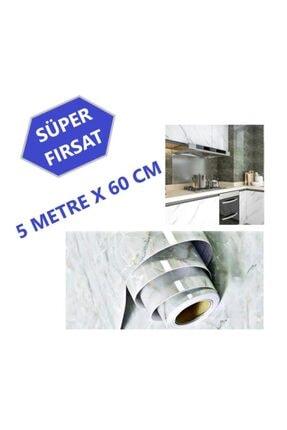 MatesStore 5metre*60cm Mermer Folyo Kaplama Beyaz Mutfak Tezgah Üstü Sticker