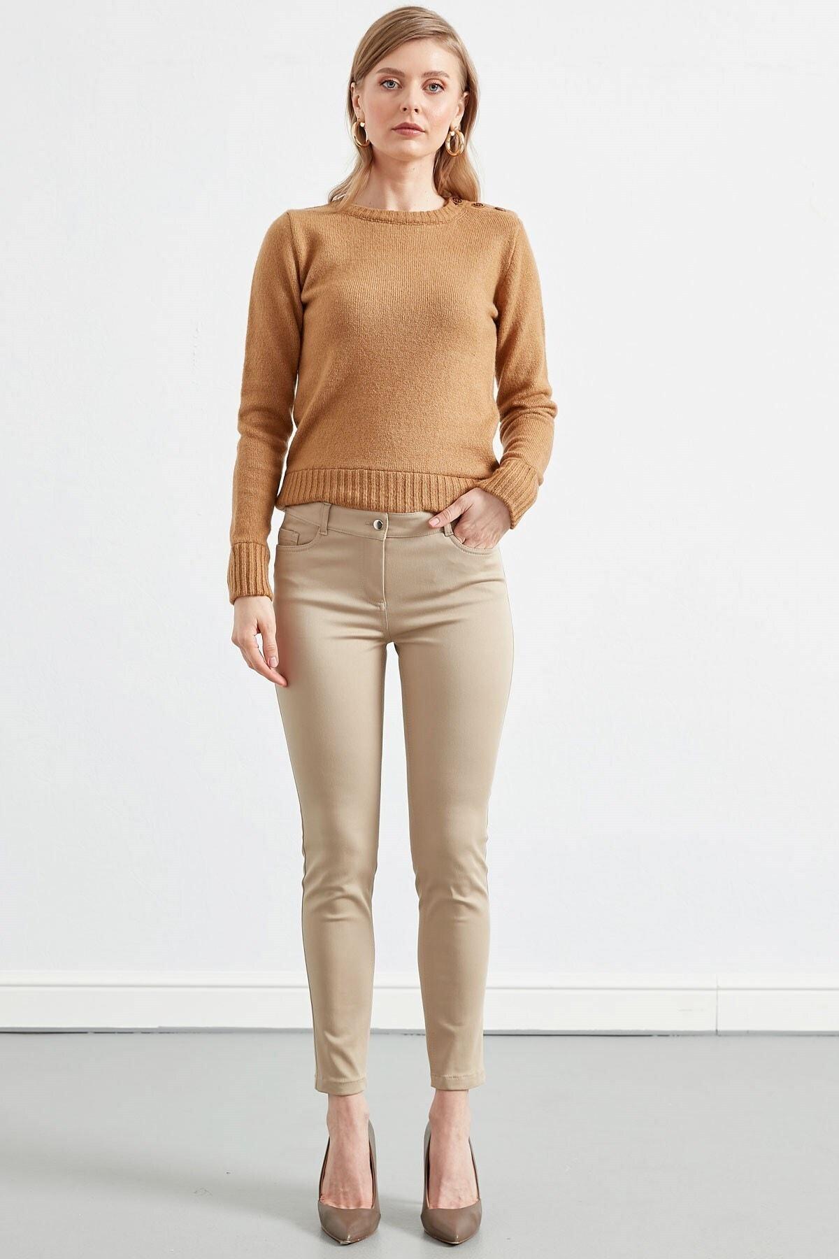 Journey Kadın Taş Rengi Düz Pantolon 1