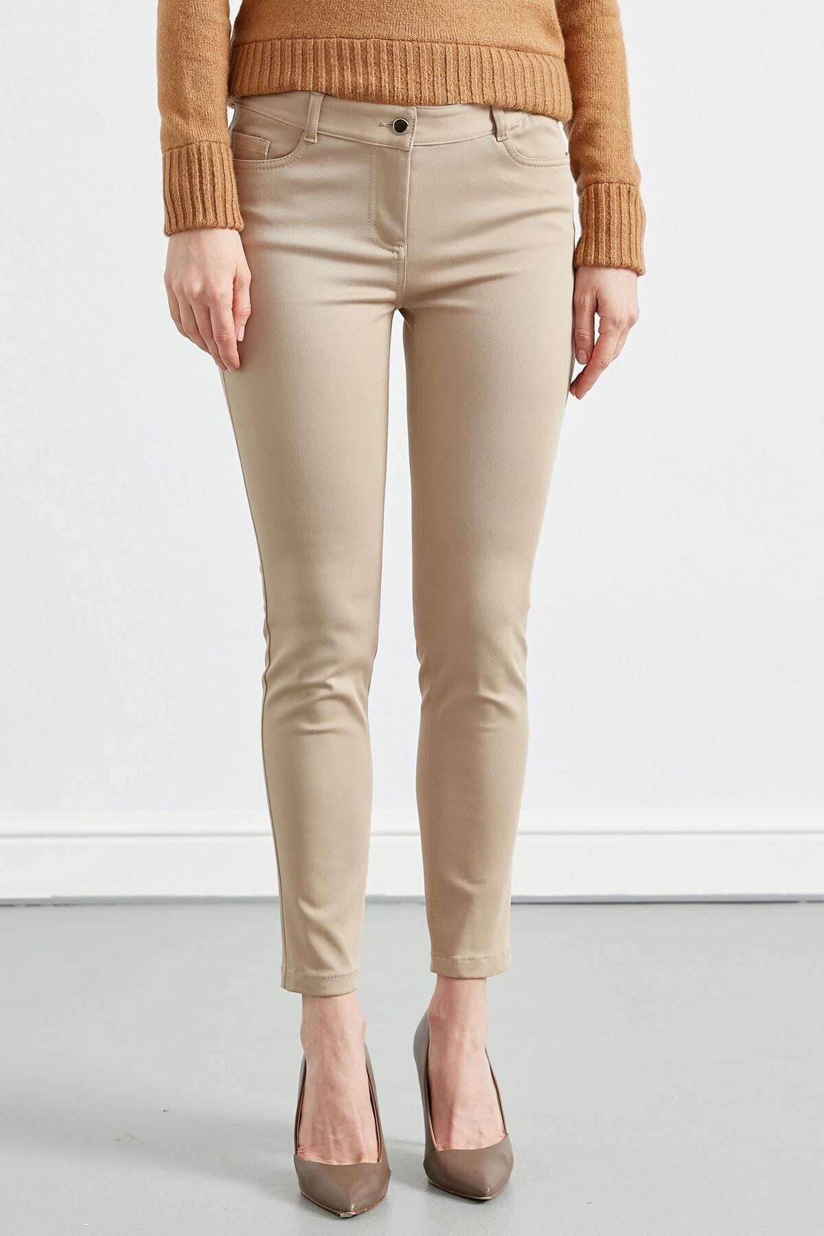 Journey Kadın Taş Rengi Düz Pantolon 2