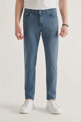 Avva Erkek Mavi Slim Fit Jean Pantolon A11y3556