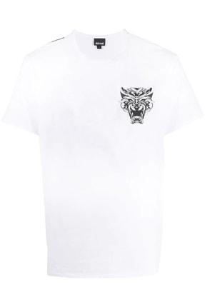 Just Cavalli Erkek Beyaz Mini Tiger Logo T-shirt