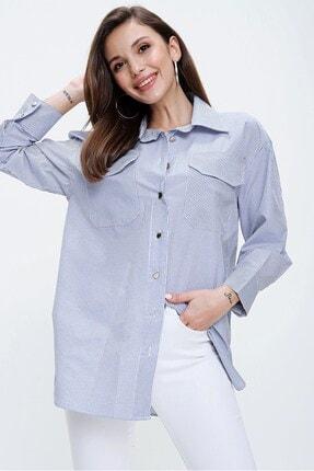 By Saygı Kadın Mavi Çift Cepli Çizgili Gömlek