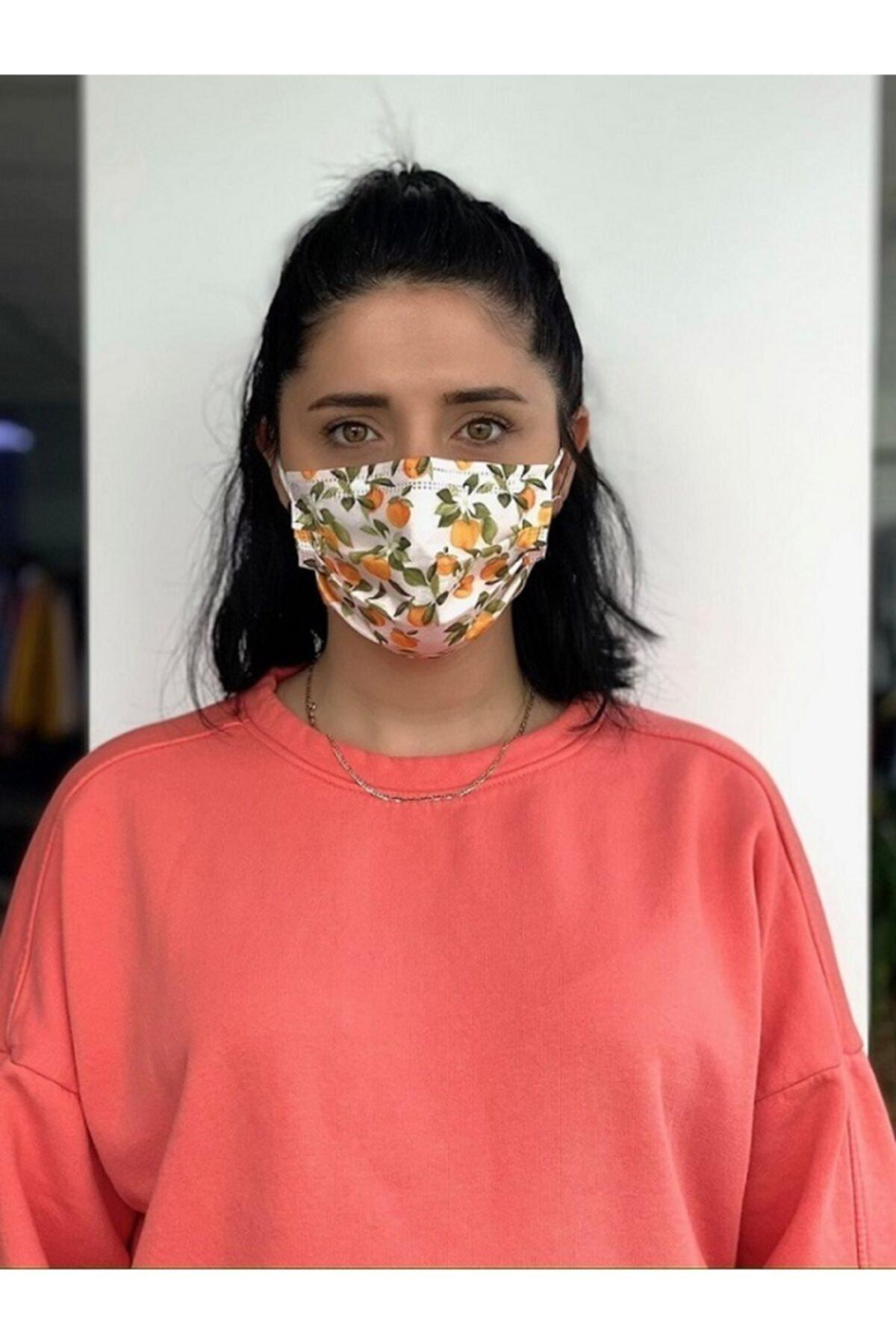 Bosmax 10 Adet Desenli Baskılı Maske, 3katlı, Burun Telli, Meltblown Ara Katmanlı 1