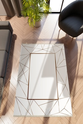 10 Post Online Modern Geometrik Kahverengi Dijital Baskı Halı