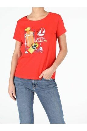 Colin's Kadın Kırmızı Kısa Kol Tshirt