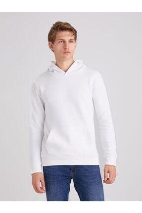 Dufy Beyaz Düz Kapüşonlu Erkek Sweatshırt - Regular Fıt