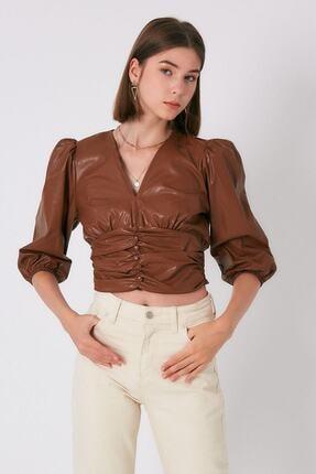 Robin Kadın Taba Beli Büzgülü Deri Bluz