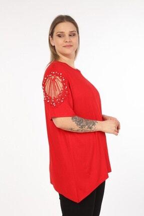 Womenice Kadın Kırmızı Omuzları Dantel Taşlı Büyük Beden Bluz