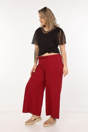 Womenice Kadın Bordo Kurdelalı Bol Paça Pantolon