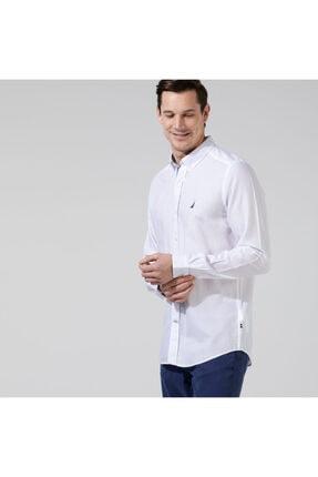 Nautica Erkek Beyaz Slım Fıt Uzun Kollu Gömlek
