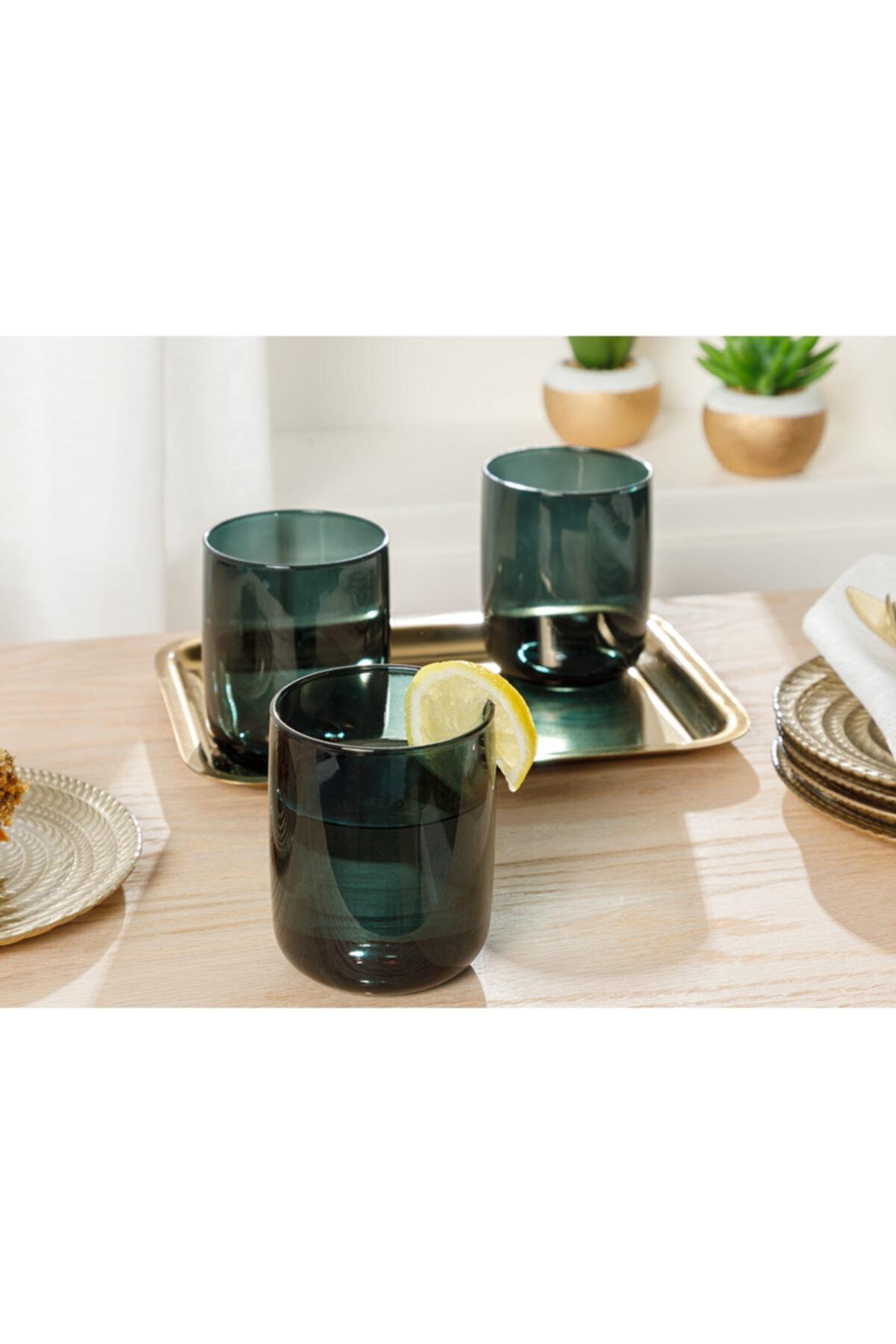 English Home Pia Cam 3'lü Meşrubat Bardağı 270 Ml Koyu Yeşil 1