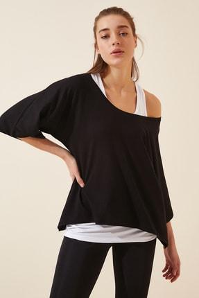 Happiness İst. Kadın Siyah Beyaz Atletli Salaş İkili T-shirt ZV00136