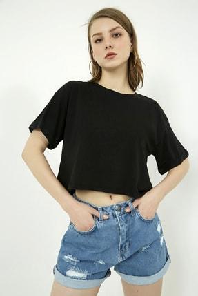 Vis a Vis Kadın Siyah Salaş Basic Tshirt