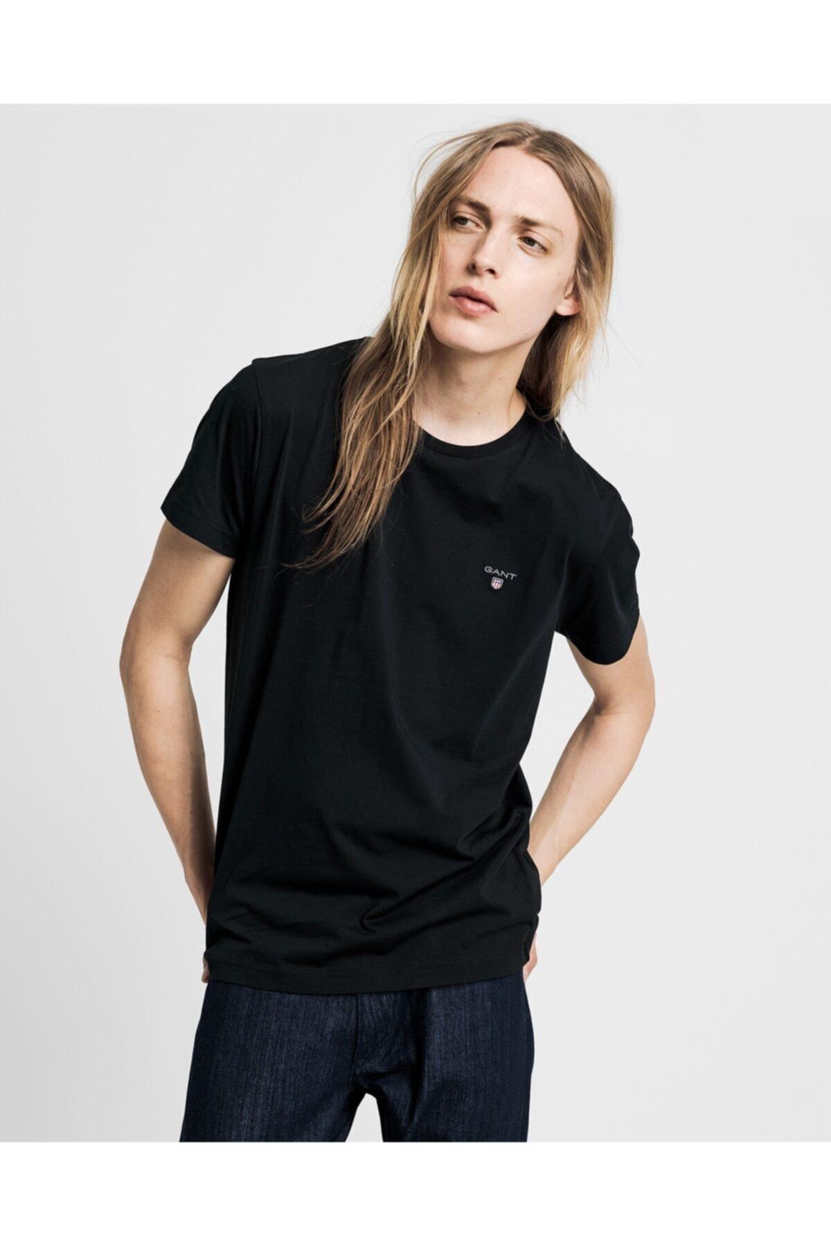 Gant Erkek Siyah Standart Fit T-shirt 1