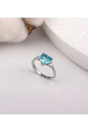 Else Silver Mavi Kalp Taşlı Gümüş Yüzük - Mavi - 12