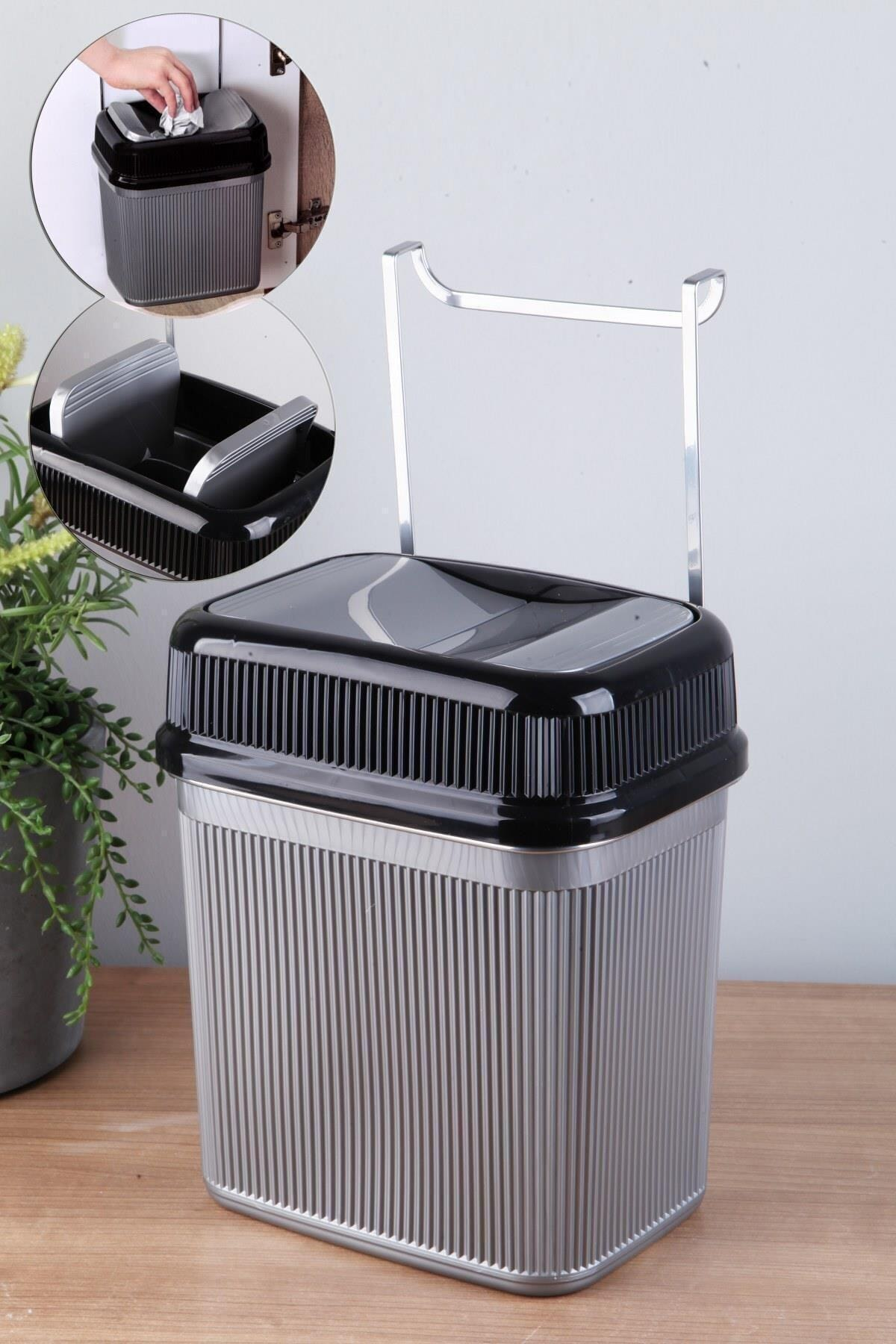 Layrol Çok Amaçlı Metal Askılı Tezgah Çöp Kovası 1