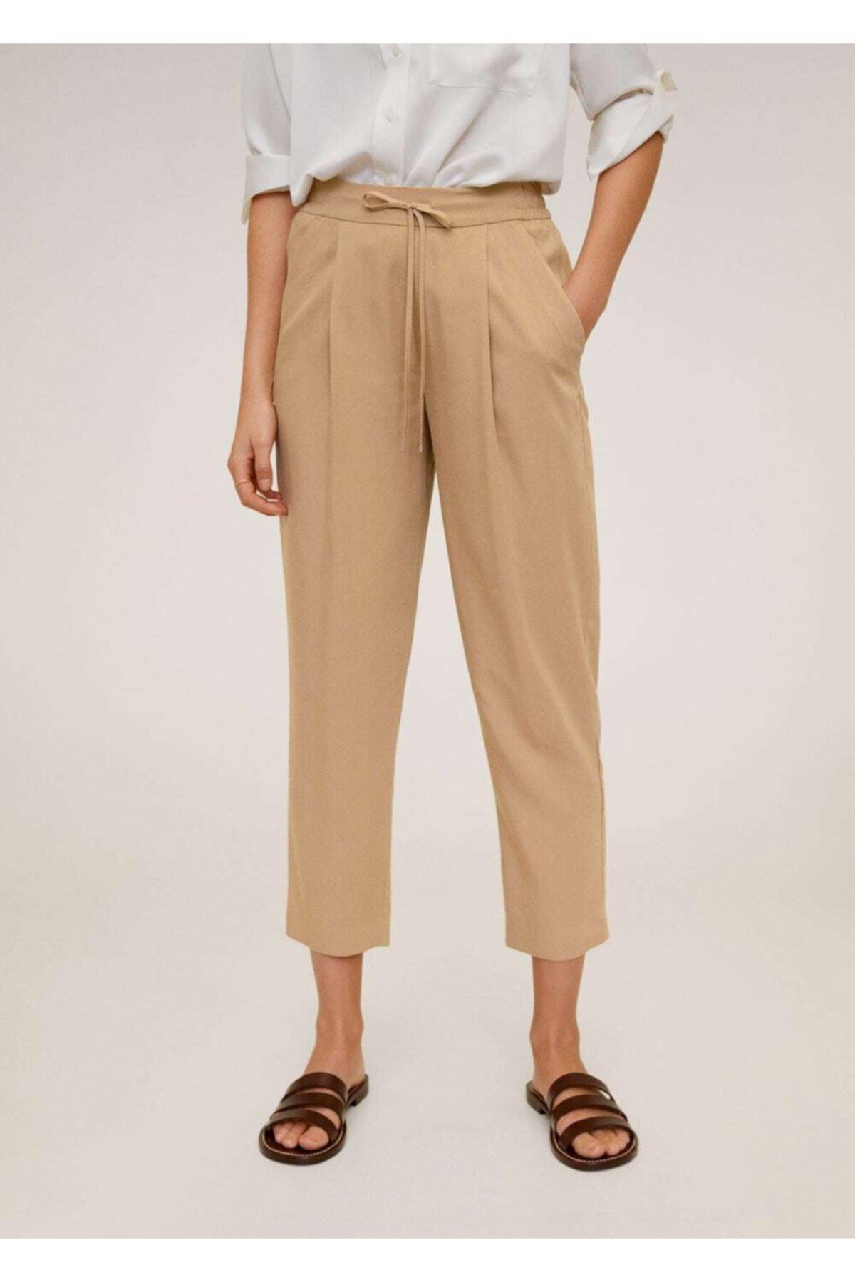 MANGO Woman Kadın Orta Kahverengi Bağcıklı Takım Pantolon 67056705 1