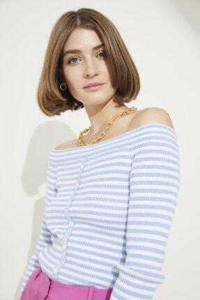 adL Kadın C.Mavi Önü Düğmeli Çizgili Triko Kazak